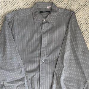 Authentic Zegna Grey striped bottom down shirt